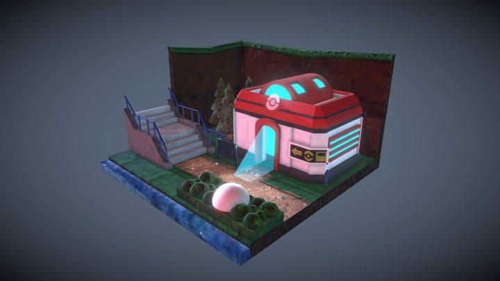 Low Poly Pokemon Center Diorama 3D Model