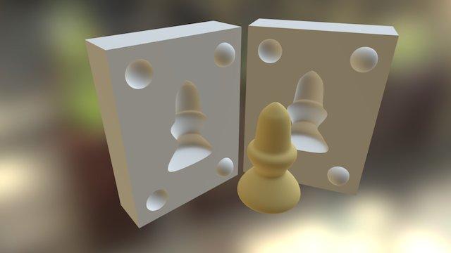 Középkori sakkfigura paraszt öntőforma 3D Model