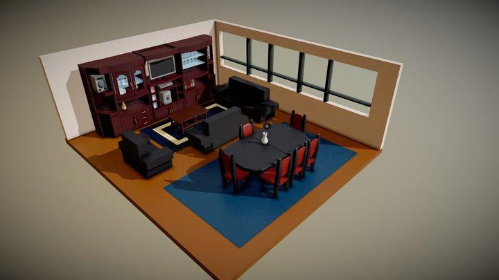 LivingRoom Lowpoly 3D Model