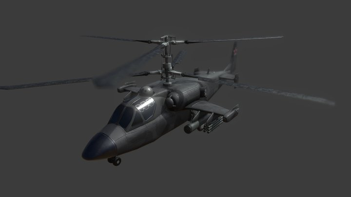 3D model Helicopter KA 52 Black Shark Low-poly 3D Model