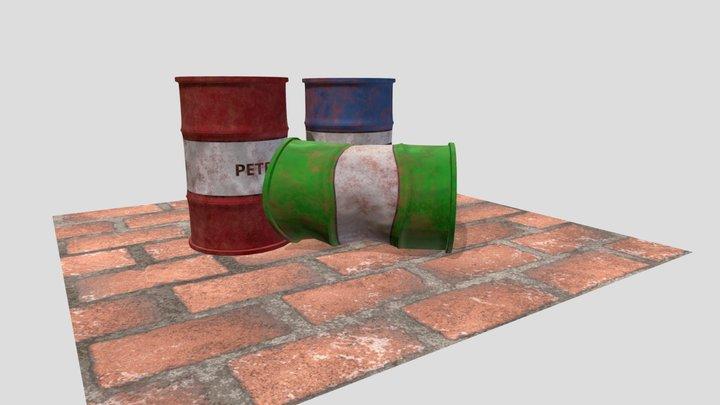Barrels with Node Shader Texture 3D Model