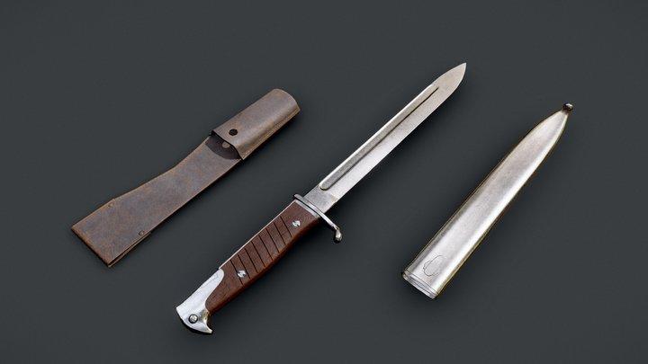 German Bayonets Knife WW Game Ready Low-Poly 3D Model
