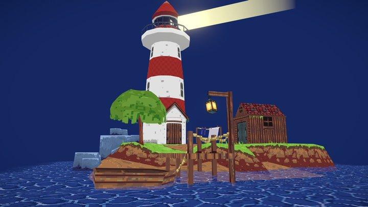 3d PixelArt LightHouse 3D Model
