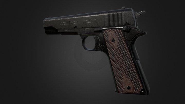 Low poly m1911 handgun 3D Model
