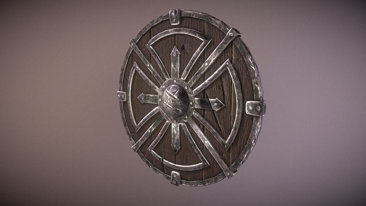 Metal wood viking shield 3D Model