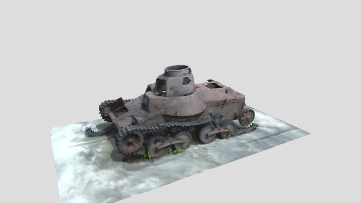 WWII Imperial Japanese Army Type 95 Ha-Go Tank 3D Model