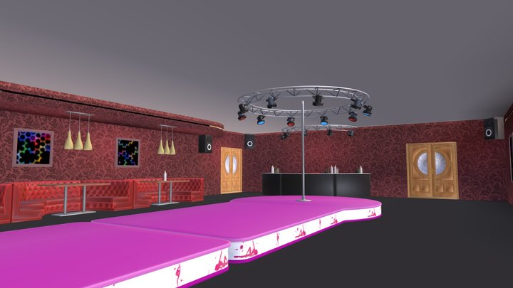 Nightclub - interior and props 3D Model