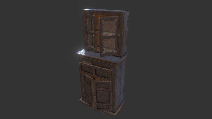 Antique Russian Peasant Dresser 3D Model