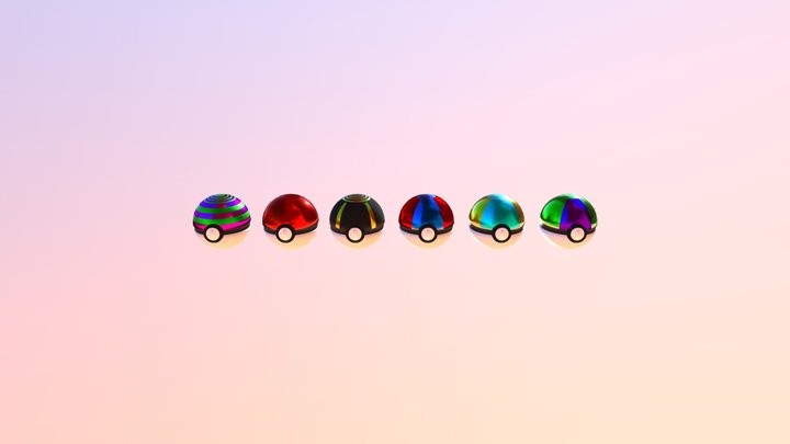 Pokeball Collection 3D Model