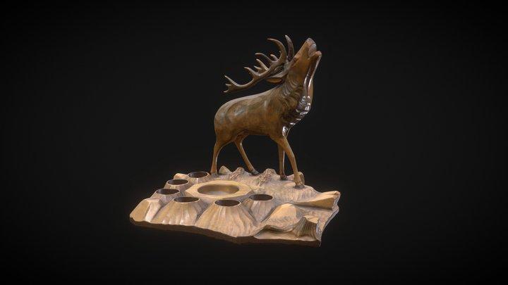 Wooden Elk Sculpture 3D Model