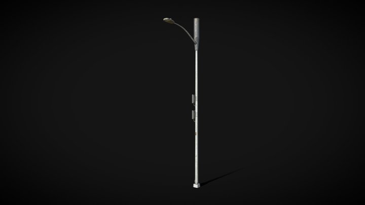 LED Street Light with 5G Antenna - SF city Props 3D Model