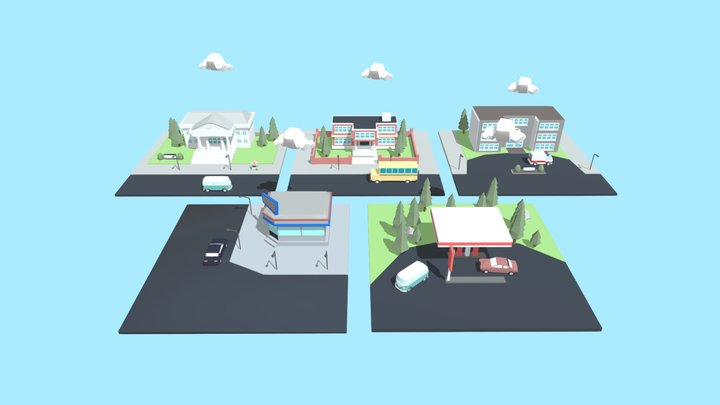 Low Poly Town 3D Model
