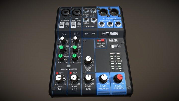 Yamaha MG06 Mixer Highpoly 3D Model