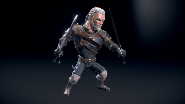 Witcher in Disney Infinity Style 3D Model