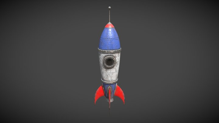 Retro Toy Rocket - Worn 3D Model