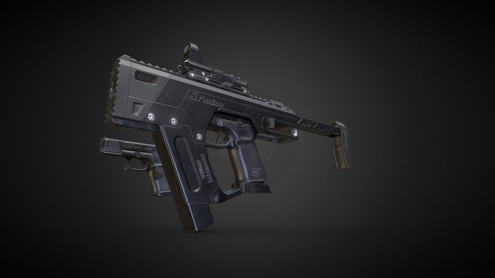 Glock 19 Gen 5 + SMG Conversion Kit 3D Model