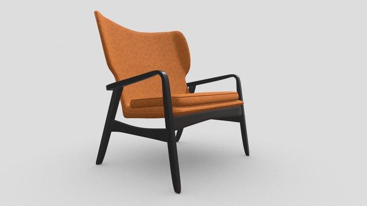 Orange Livingroom Chair with Wood Armrests 3D Model