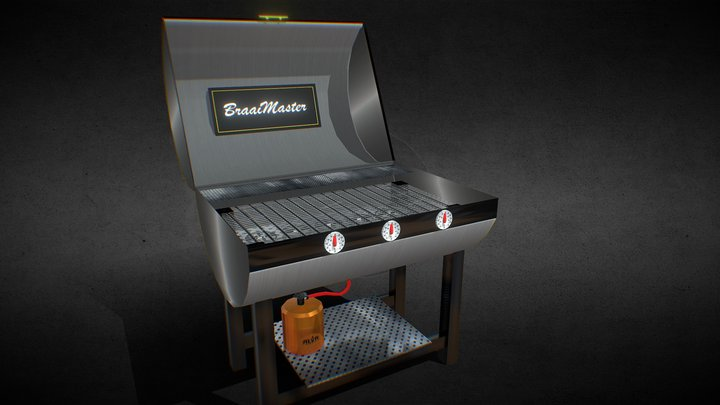 Animated Gas BBQ Cooker 3D Model