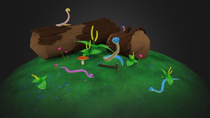 Snakes animated pack 3D Model