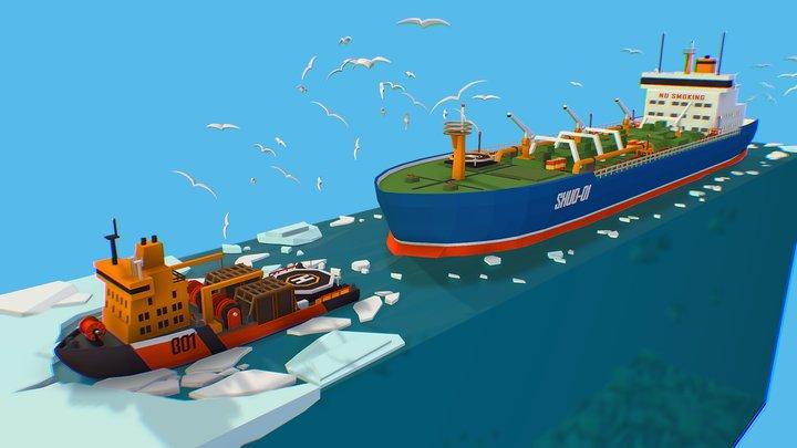 Isometric Boat break Ice Oil Tanker Icebreaker 3D Model