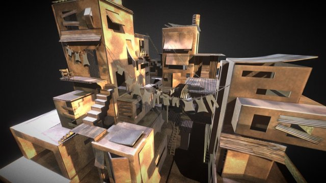 Cardboard Slums 3D Model