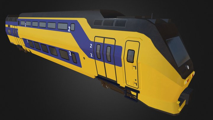 Dutch Doubledecker train 3D Model