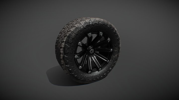 Off Road Wheel Tire Mud Low-Poly 3D Model