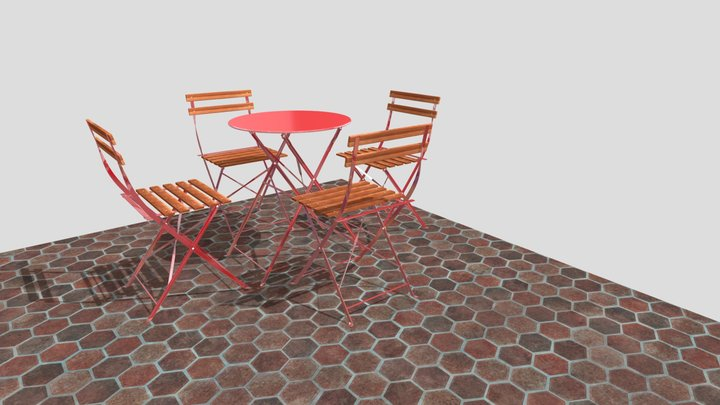 Garden folding table and chairs 3D Model