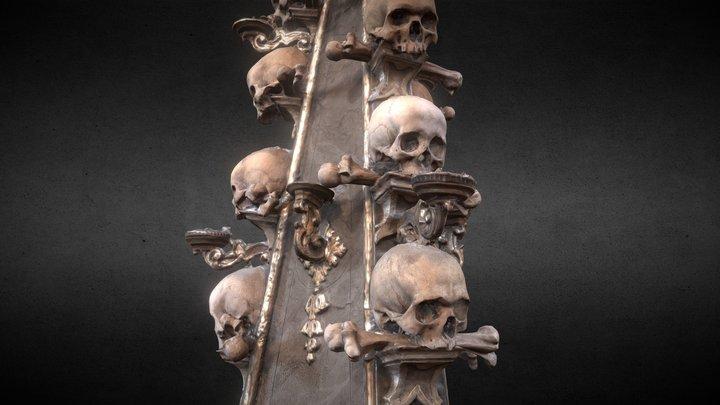 Sedlec Ossuary Skull Candleholder Column 3D Model