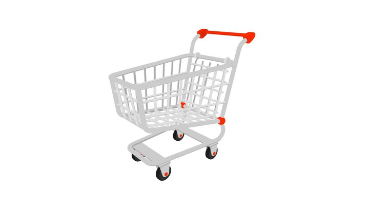 Shopping Cart Low Poly Flat Icon Style 3D Model