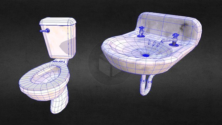 Toilet and Sink 3D Model