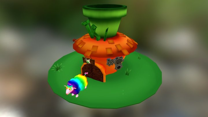 Carrot House And Crazy Sheep 3D Model
