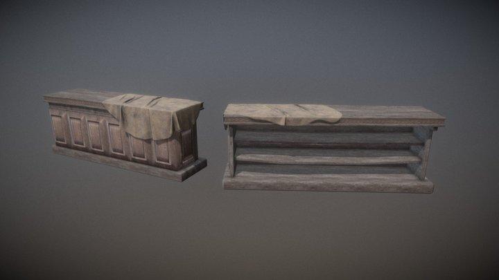 Old tavern Desk + Cloth 3D Model