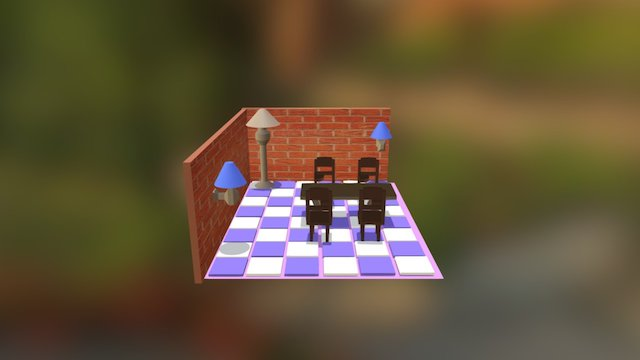 simple design of chair and table 3D Model