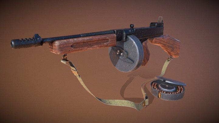 Thompson submachine gun. 3D Model