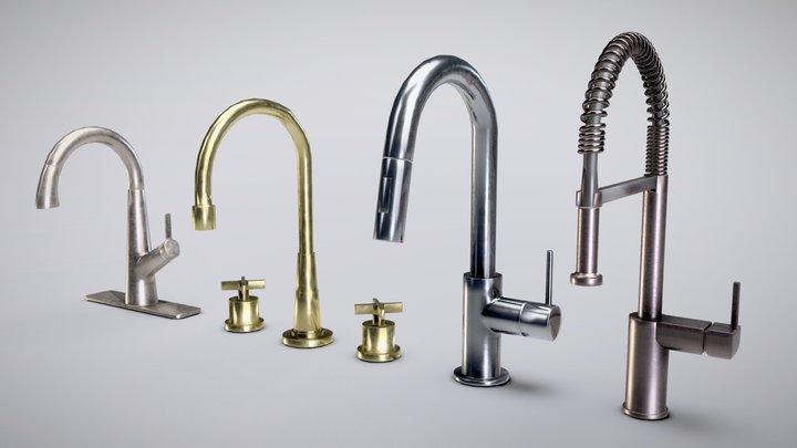Set of Kitchen Faucets Low-Poly 3D Model 3D Model
