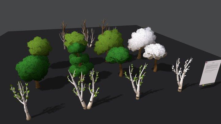 Handpainted Trees Pack 1 3D Model