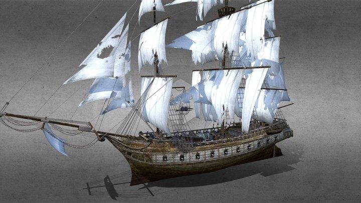 Clipper sailing ship 3D Model