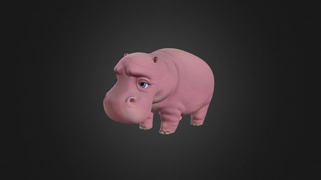 Little Hippo 3D Model