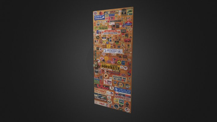 Stickered Door 3D Model