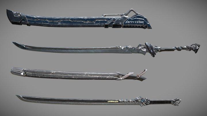 Sci-fi Swords Pack 1 3D Model
