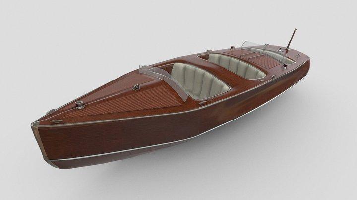 Retro Wood Boat - Chriscraft - Hangerboat 3D Model