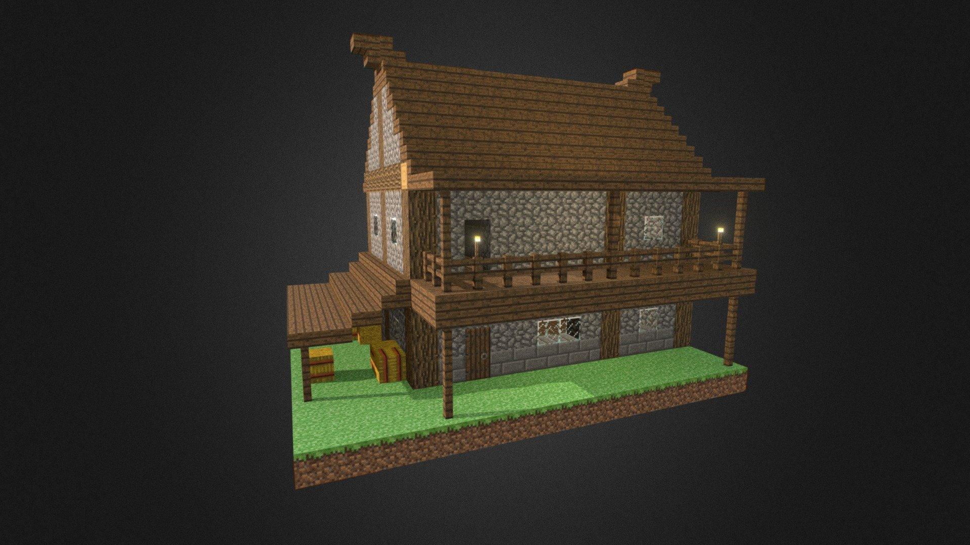 Minecraft Custom House Download Free 3d Model By Blender3d