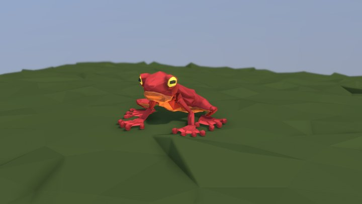 Low Poly Frog 3D Model