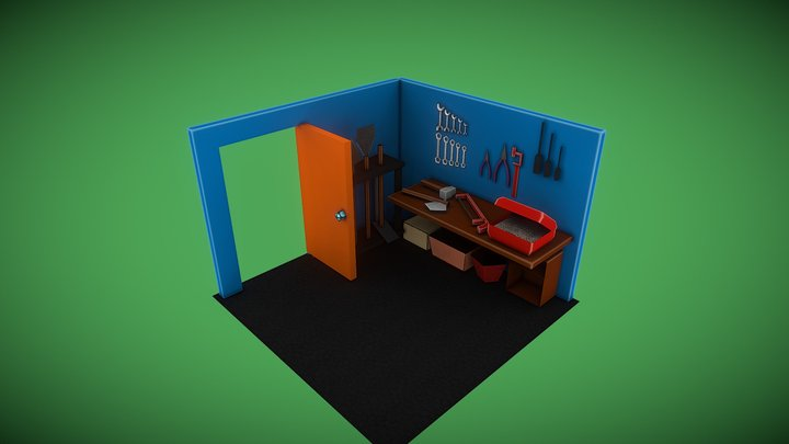 low poly garage 3D Model