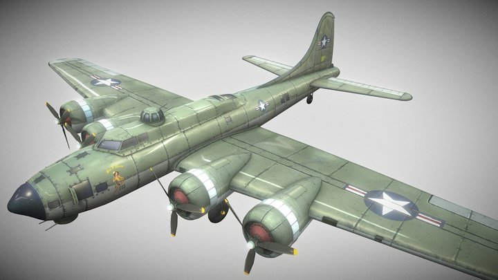 B-17 Hand-Painted 3D Model