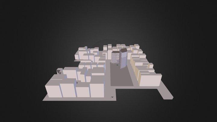 Plaza con escultura 3D Model