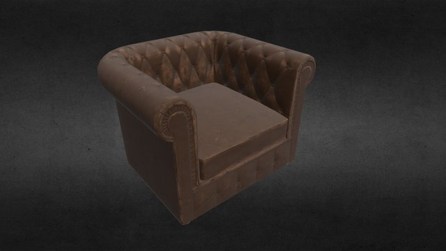 Leather Armchair (old and worn variant) 3D Model
