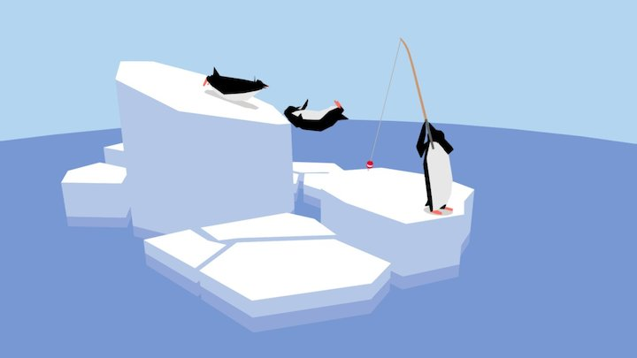 Penguin beach on the ice floe 3D Model