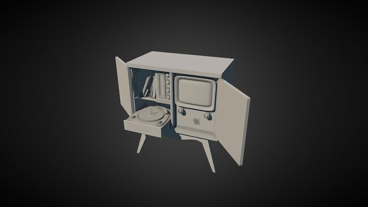 Vintage TV High Polly 3D Model